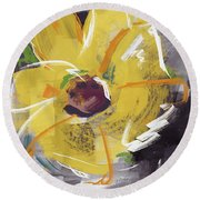 Expressionist Sunflower- Art By Linda Woods Round Beach Towel
