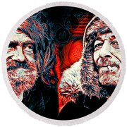 Round Beach Towel featuring the digital art Expressions by Zedi