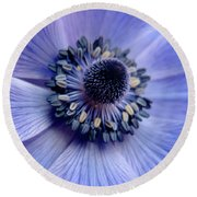 Expressive Blue And Purple Floral Macro Photo 706 Round Beach Towel