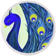 Round Beach Towel featuring the painting Expressive Brilliant Peacock B71117 by Mas Art Studio
