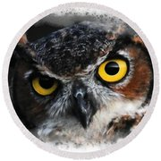 Round Beach Towel featuring the digital art Expressive Owl Digital A2122216 by Mas Art Studio