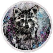 Expressive Raccoon Round Beach Towel