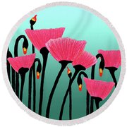 Expressive Red Pink Green Poppy Painting Y1a Round Beach Towel