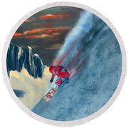 Extreme Ski Painting  Round Beach Towel
