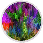 Round Beach Towel featuring the digital art Extruded City Of Color By Kaye Menner by Kaye Menner