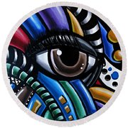 Eye Abstract Art Painting - Intuitive Chromatic Art - Pineal Gland Third Eye Artwork Round Beach Towel