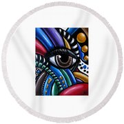 Eye Am - Abstract Art Painting - Intuitive Art - Ai P. Nilson Round Beach Towel