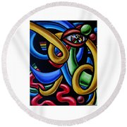 Eye Art Print Chromatic Abstract Art Painting Colorful Optical Artwork  Round Beach Towel