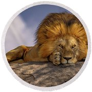 Eye Contact On The Serengeti Round Beach Towel
