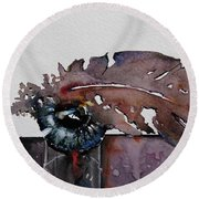 Round Beach Towel featuring the painting Eye Feather by Geni Gorani