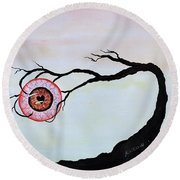 Round Beach Towel featuring the painting Eye Heart On Fire by Edwin Alverio