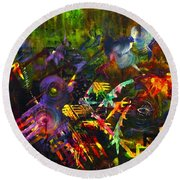 Round Beach Towel featuring the painting Eye In Chaos by Claire Bull