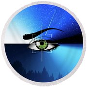 Eye In The Sky Round Beach Towel
