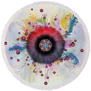 Round Beach Towel featuring the digital art Eye Know Light by Iowan Stone-Flowers