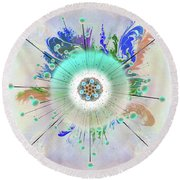 Round Beach Towel featuring the digital art Eye Know Light Two by Iowan Stone-Flowers