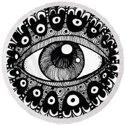 Eye Of March Round Beach Towel by Nada Meeks