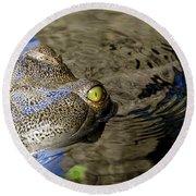 Eye Of The Crocodile Round Beach Towel by David Lee Thompson