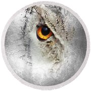 Round Beach Towel featuring the photograph Eye Of The Owl 1 by Fran Riley