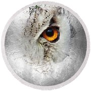 Round Beach Towel featuring the photograph Eye Of The Owl 2 by Fran Riley