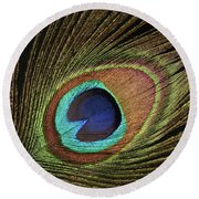 Eye Of The Peacock #11 Round Beach Towel