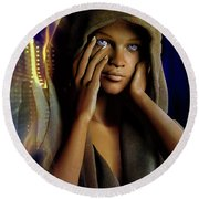 Round Beach Towel featuring the digital art Eye Of The Soul by Shadowlea Is