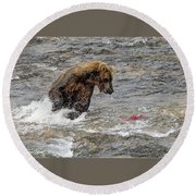 Eye On The Sockeye Round Beach Towel