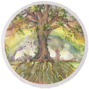 Eye See My Healing Tree Round Beach Towel