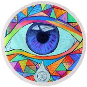 Eye With Silver Tear Round Beach Towel