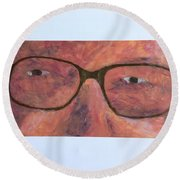Round Beach Towel featuring the painting Eyes by Donald J Ryker III