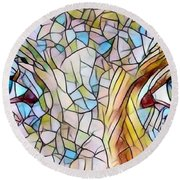 Eyes Of A Goddess - Stained Glass Round Beach Towel