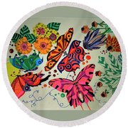 Eyes Of The Butterflies Round Beach Towel