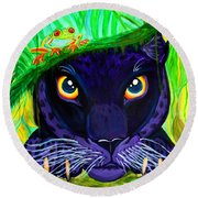 Eyes Of The Rainforest Round Beach Towel