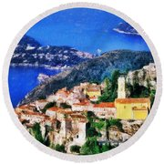 Eze And Cap Ferrat Round Beach Towel