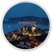 Eze And Cote D'azur Round Beach Towel