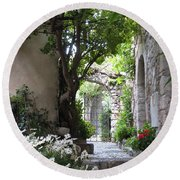 Round Beach Towel featuring the photograph Eze Passageway by Carla Parris
