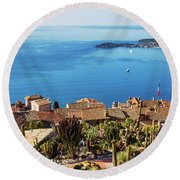 Eze Village And The Sea Round Beach Towel