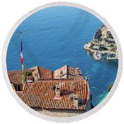 Eze Village And The Sea In France Round Beach Towel