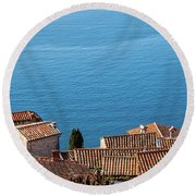 Eze Village Houses And Big Blue Of Mediterranean Sea Round Beach Towel