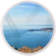 Eze Village Sea View In France Round Beach Towel