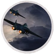 F-14 Flying Iron Round Beach Towel