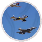 F-16 P-51d F-86 Heritage Flight- Flyby Round Beach Towel