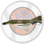 F-4d Phantom Round Beach Towel by Arthur Eggers