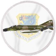 F-4d Phantom II Raf Bentwaters Round Beach Towel by Arthur Eggers