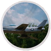 Round Beach Towel featuring the digital art F-86l Sabre by Chris Flees