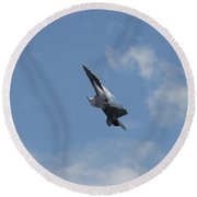 Round Beach Towel featuring the photograph F/a-18 Fighter Fast Climb by Aaron Berg