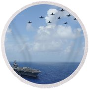 F-a-18c Hornets Fly Over The Aircraft Carrier Uss Dwight D. Eisenhower Round Beach Towel