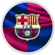 F. C. Barcelona - 3d Badge Over Flag Round Beach Towel