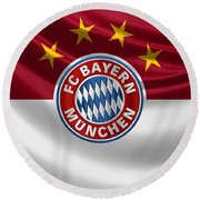 F C Bayern Munich - 3 D Badge Over Flag Round Beach Towel by Serge Averbukh