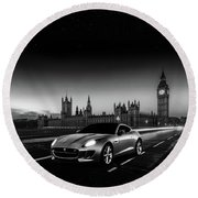 F-type In London Round Beach Towel by Mark Rogan