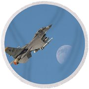 Round Beach Towel featuring the photograph F16 - Aiming High by Pat Speirs